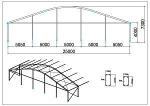 schéma chapiteaux dôme 25m