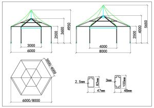 schéma tente polygone 6m 8m