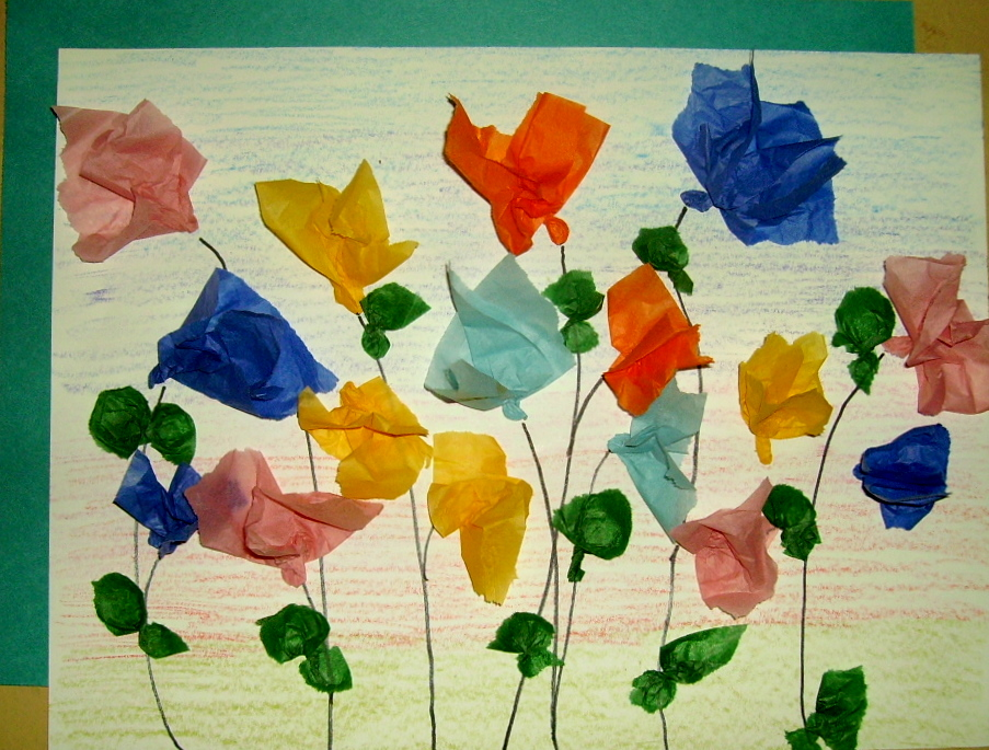 Tissue flower art kids glitter theres snow on the ground and the temperature is below freezing but the 1 st grade class is thinking spring today tissue flowers can stand the cold mightylinksfo Choice Image
