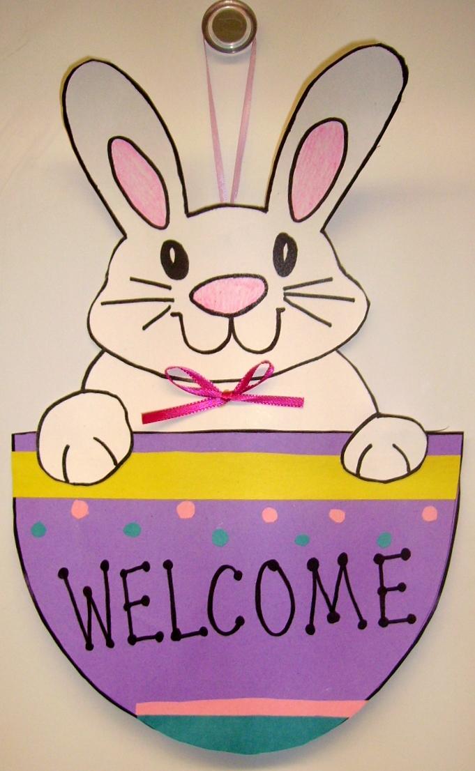 Bunny Door Hanger Kids Glitter