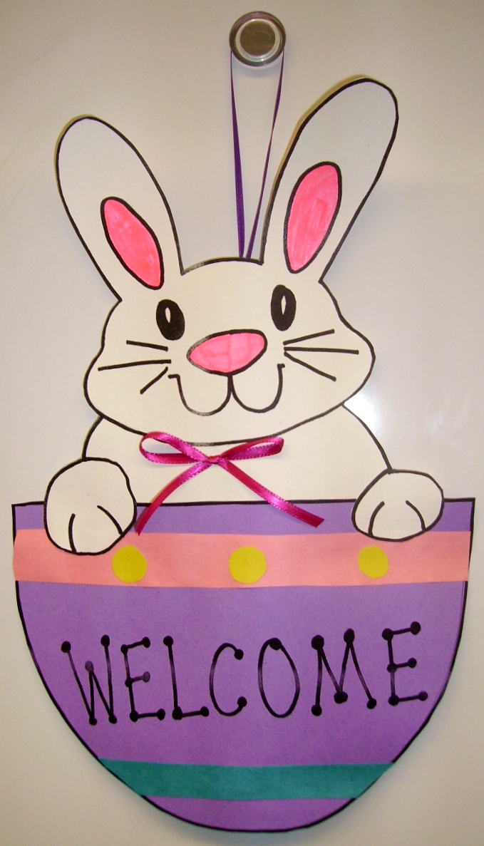 Bunny Welcome Door Hanger Kids Glitter
