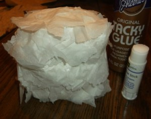 hootie owls-add tissue using glue stick