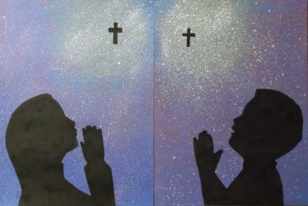children praying-silhouettes3