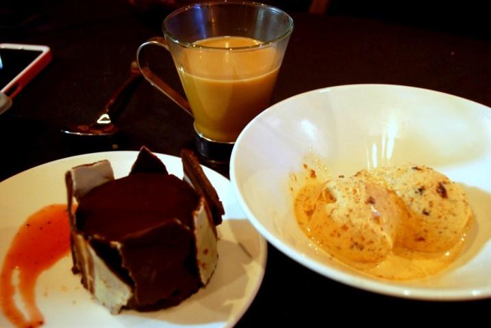 Chocolate Bomb and Homemade Ice Cream