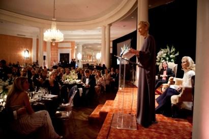 Tilda Swinton at podium