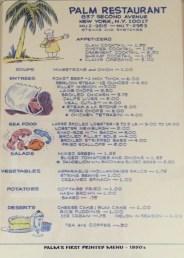 First printed menu