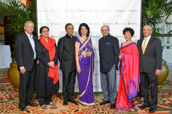 Dr. Madhav Chavan, Founder Pratham, Dr. Rukmini Banerji, Director Pratham ASER Centre, Dr. Suresh Khator, Dr Renu Khator, Honoree, Dinny Devitre, Chairman Pratham USA, Dr. Marie Goradia, President Pratham Houston, Vijay Goradia, Founder of Pratham USA