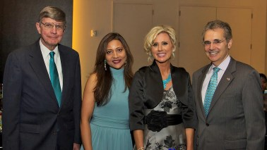 left to right, Dr. Robert C. Bast Jr., Runsi Sen, Karen Shayne, Dr. Ronald DePinho (President of MD Anderson)