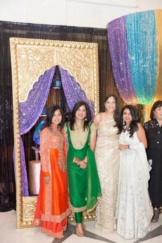 Guests enjoying a photo op, left to right: Swati Narayan, Geeta Anand, Sippi Khurana, Farida Abjani
