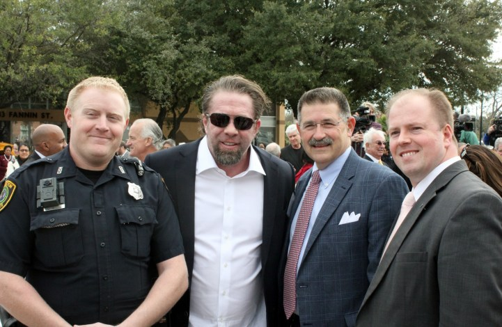 Houston Police Officer Knox, Jeff Bagwell, Council Member Mike Knox, Harris County District Clerk Chris Daniel