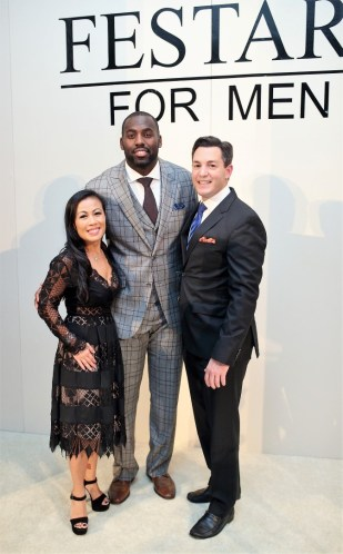 Chau Nguyen, Houston Texan Whitney Mercilus and Andy Cerota at Festari for Men Una Notte In Italia
