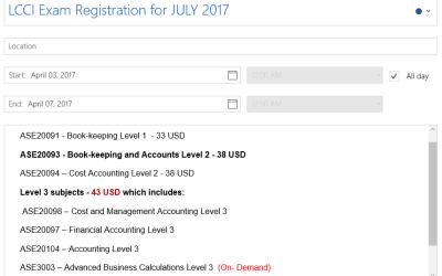 LCCI Exam Registration for JULY 2017