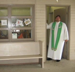 Pastor Jeff Lilley at the entrance to his office