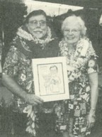 The Rev. Dr. Don Johnson and his wife Ruth at his retirement luau.