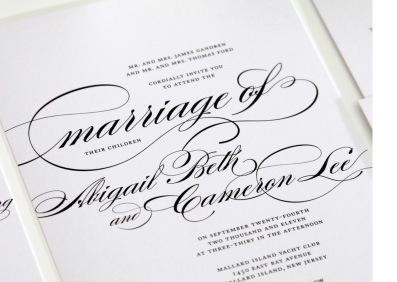 black and white wedding invitation with formal typography