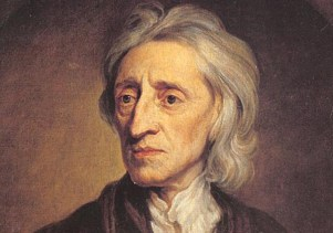 "John Locke, an Enlightenment thinker and social contract theorist. Also a key theorist of natural rights to ""life, liberty and property."""