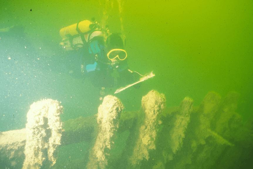 Diver at shipwreck site.