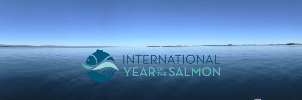 Image of Lake Champlain waters and the International Year of the Salmon logo
