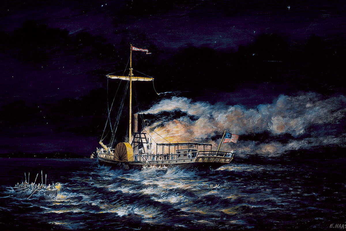 Painting of steamboat Phoenix burning at night. Professional Development course.