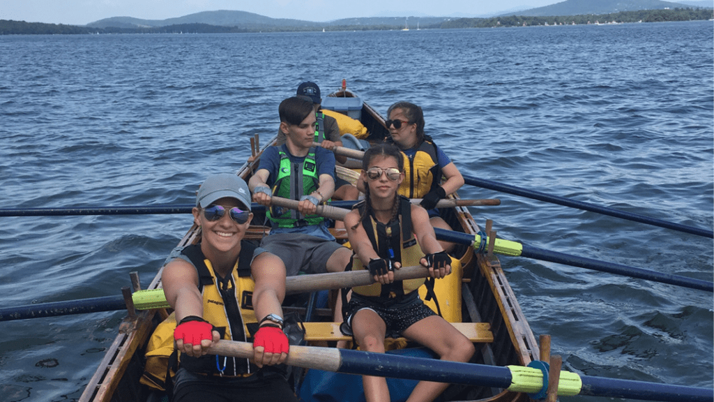Five teens row as part of the rowing expedition