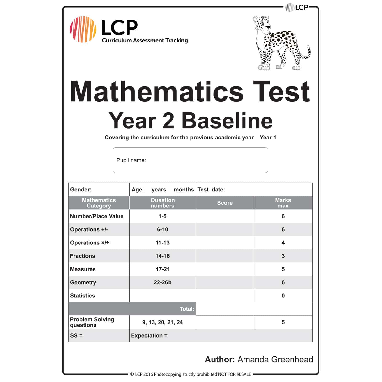 Maths Baseline Year 2 Class Pack Of 30 Papers