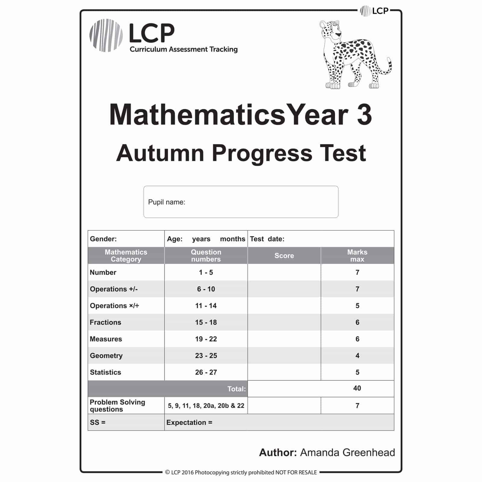 Maths Autumn Year 3 Class Pack Of 30 Papers