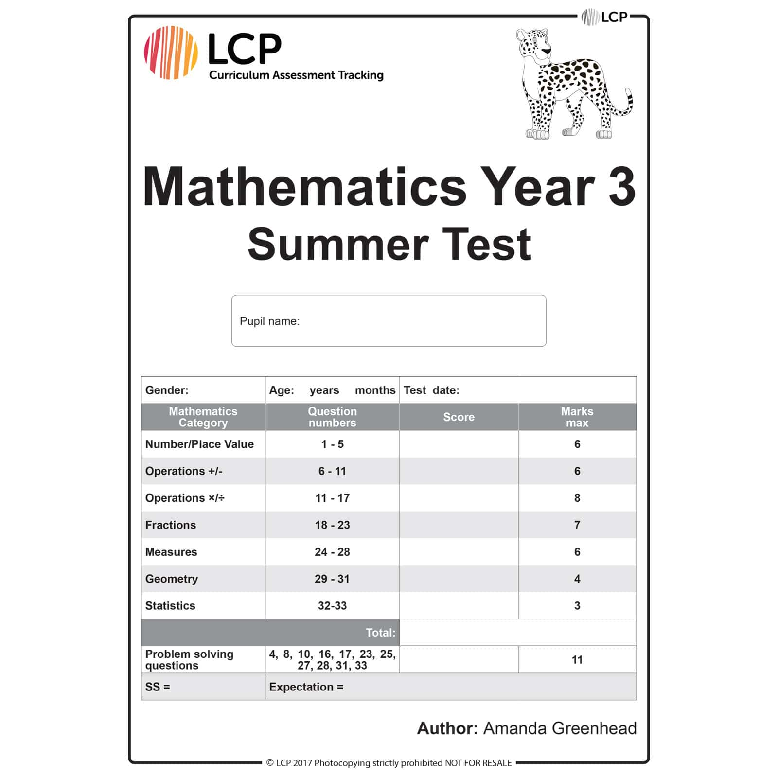 Maths Summer Year 3 Class Pack Of 30 Papers