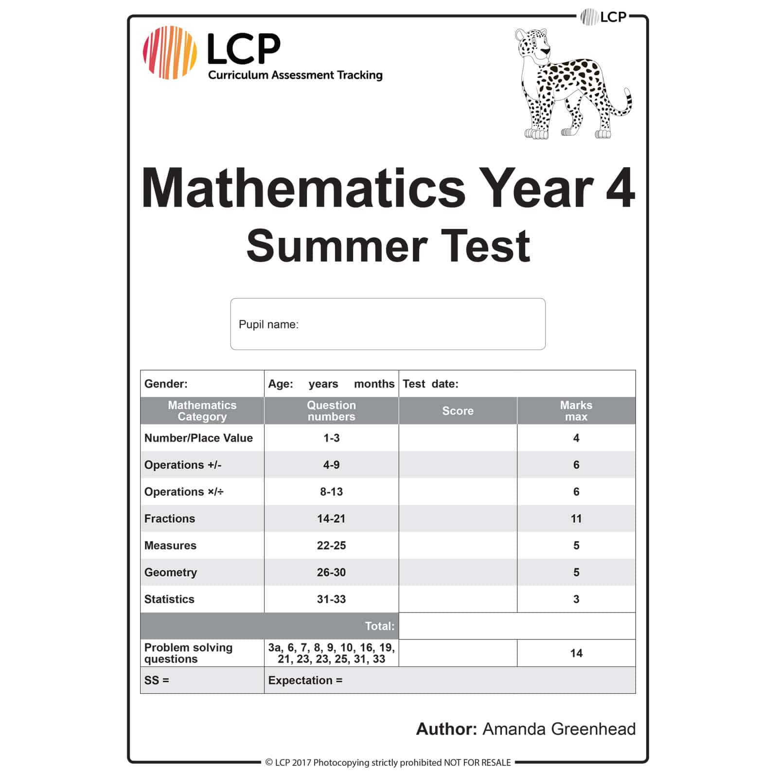 Maths Summer Year 4 Class Pack Of 30 Papers
