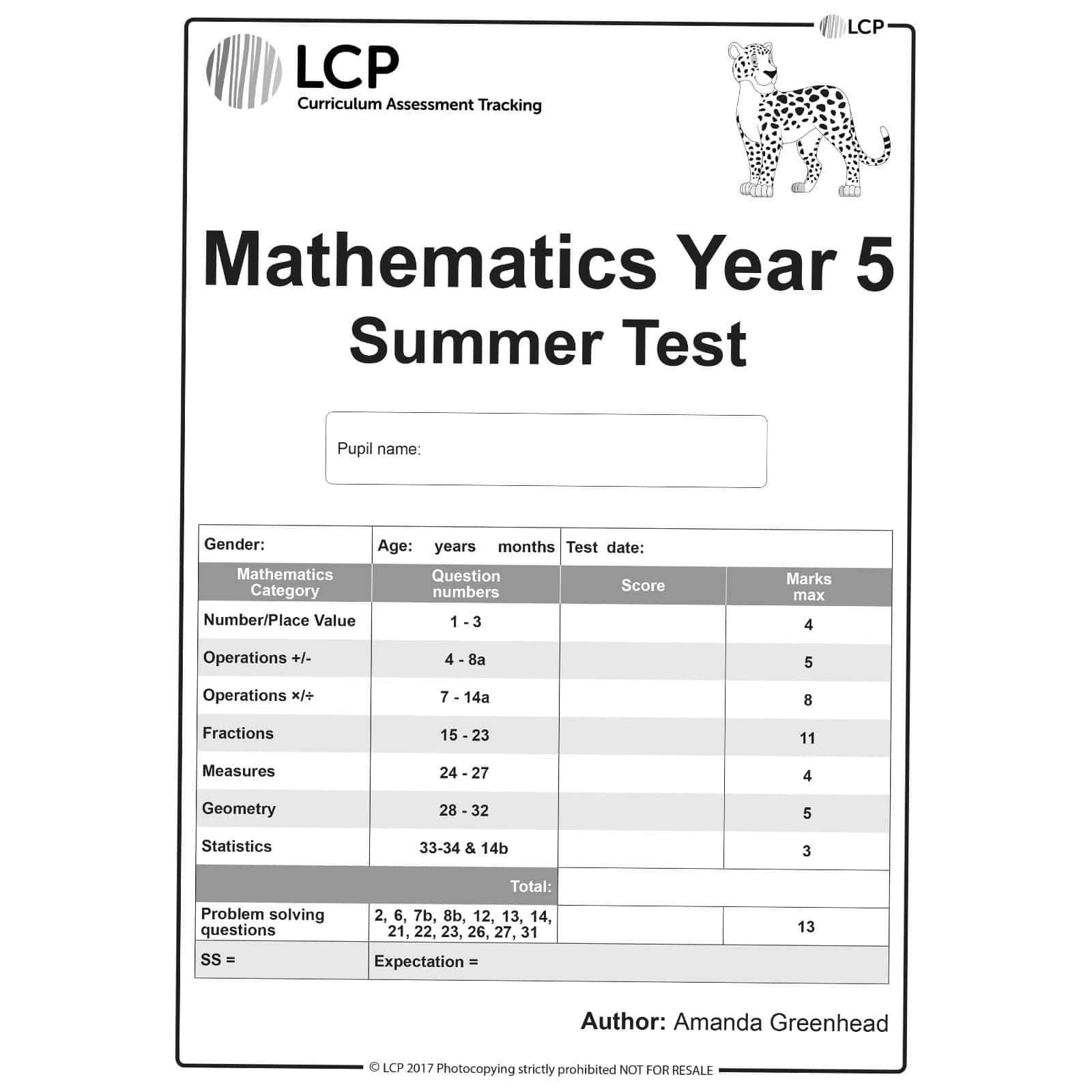 Maths Summer Year 5 Class Pack Of 30 Papers