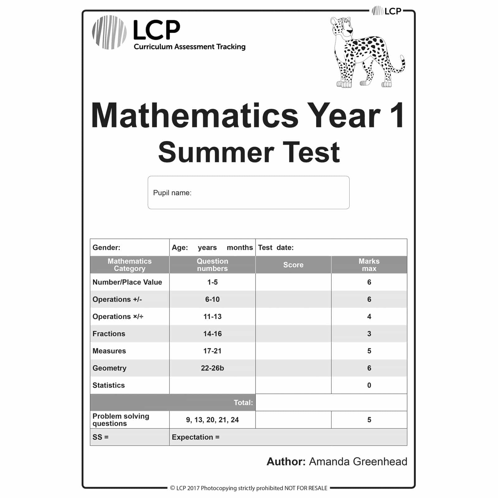 Maths Summer Year 1 Class Pack Of 30 Papers