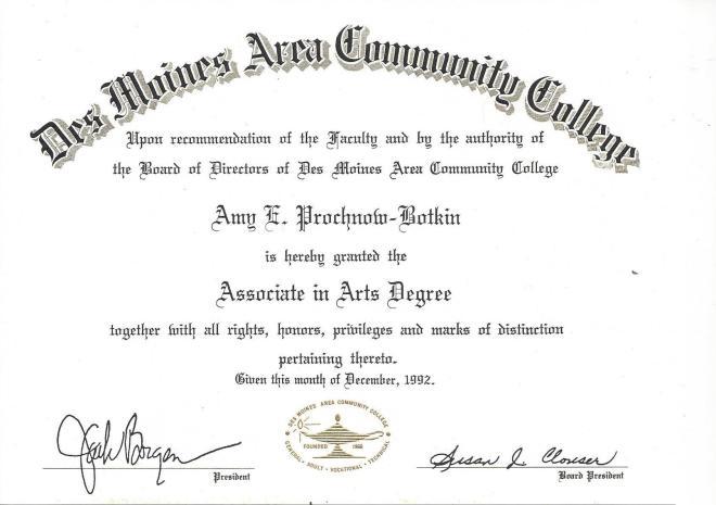 DMACC AA Certificate