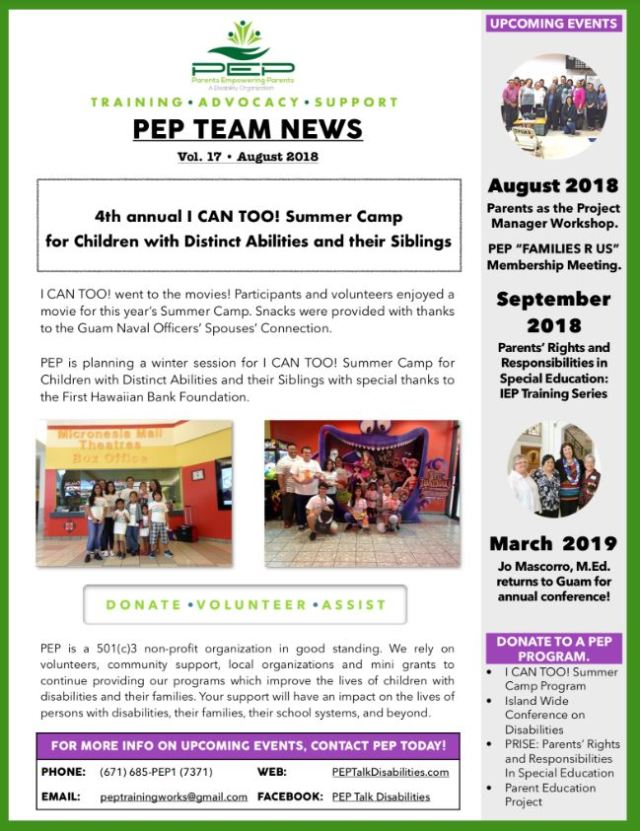 Empowering Parents In Special Education >> Parents Empowering Parents Team News August 2018 Leadership In