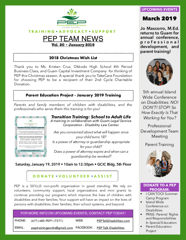 Empowering Parents In Special Education >> Pep Team News Vol 20 Leadership In Disabilities Achievement Of