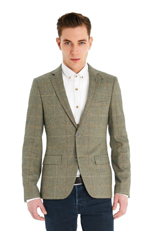 VENTUNO 21 SLIM FIT ITALIAN CLOTH BROWN CHECK JACKET