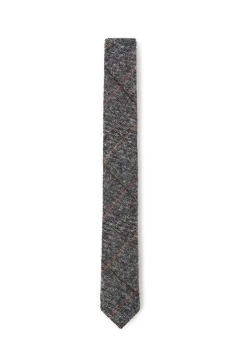 VENTUNO 21 GREY WOOL HERRINGBONE TIE