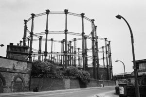 Black and white of empty cast-iron gas-holders