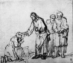Jesus Healing a Leper, by Rembrandt