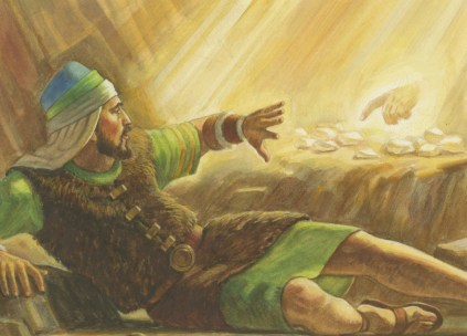 A painting by Robert T. Barrett depicting the brother of Jared seeing the finger of the Lord