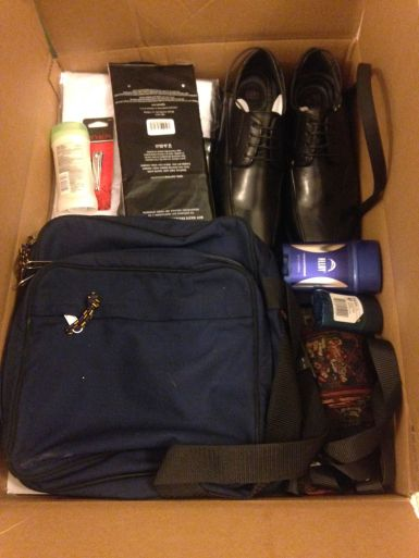Tracting bag, deodorant, shoes, and other gifts.