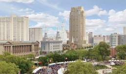 Rendering of temple, chapel, and apartments to be built in Philadelphia.