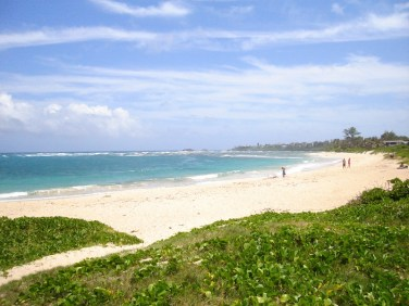 Hukilau Beach in Laie Hawaii.