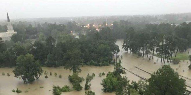 Photos Show Houston Temple Grounds Flooded from Hurricane Harvey