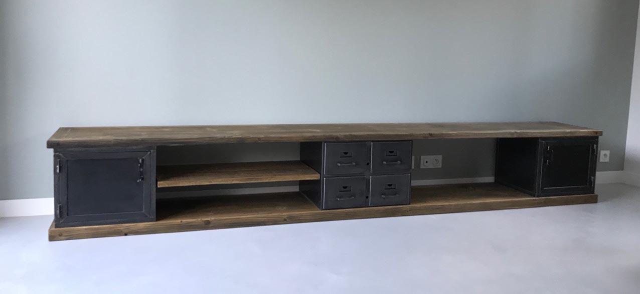 meubles tv industriel bois et metal l