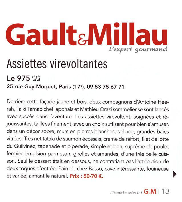 Gault & Millau – Assiettes virevoltantes