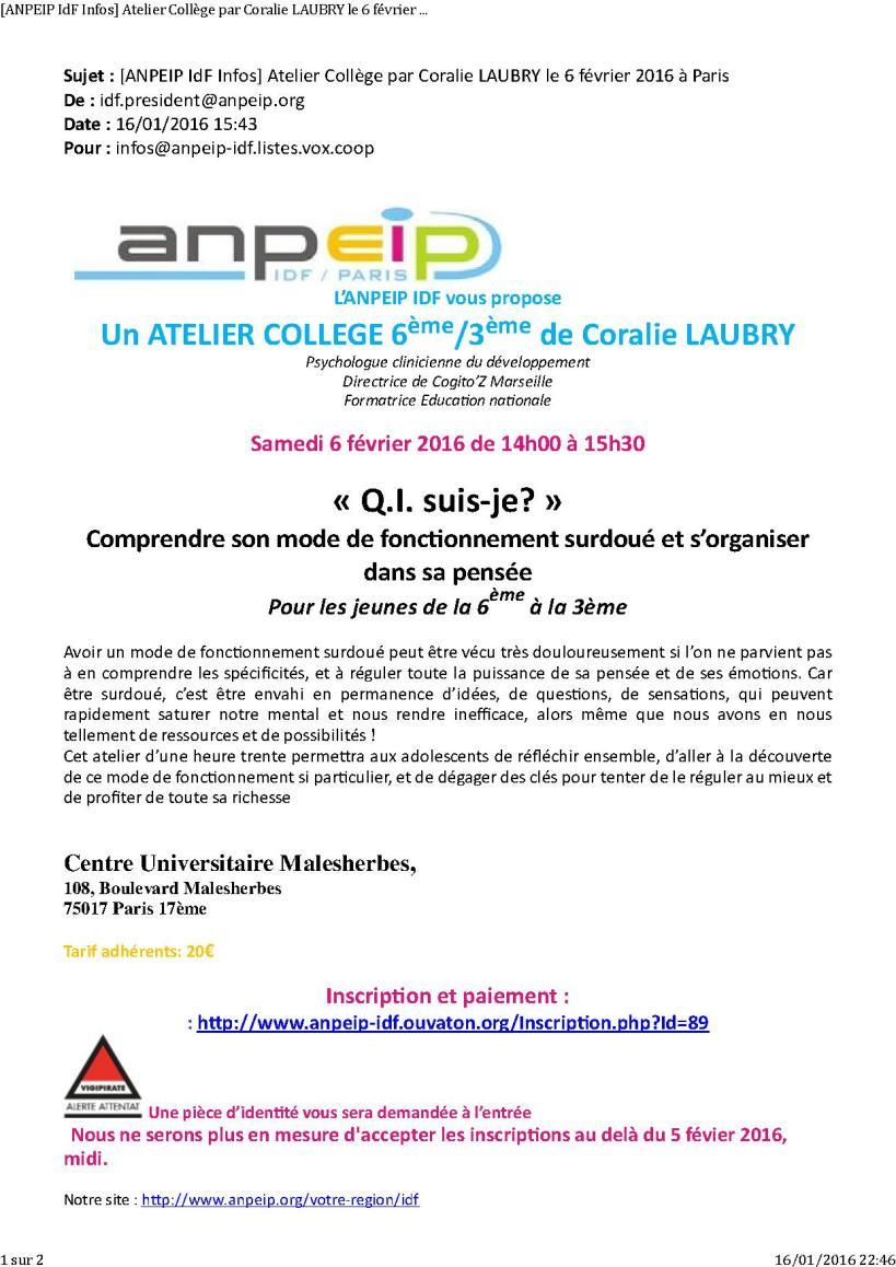 [ANPEIP IdF Infos] Atelier Collège par Coralie LAUBRY le 6 février 2016 à Paris