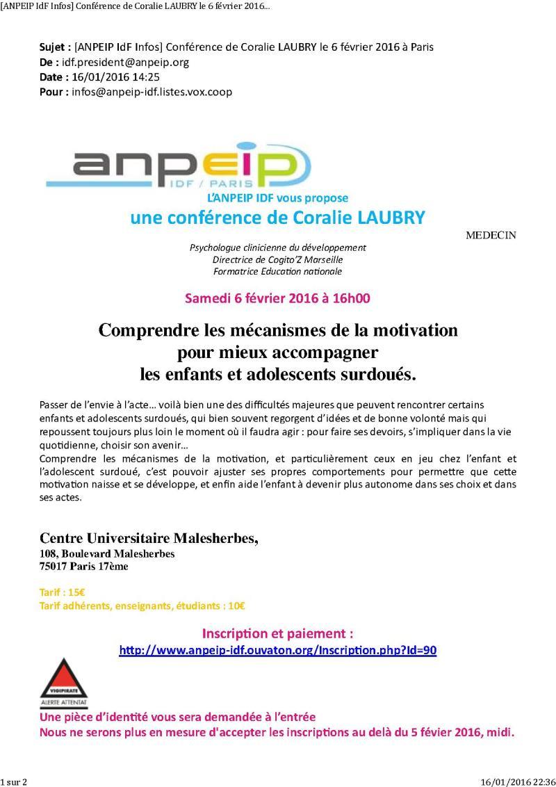 [ANPEIP IdF Infos] Conférence de Coralie LAUBRY le 6 février 2016 à Paris