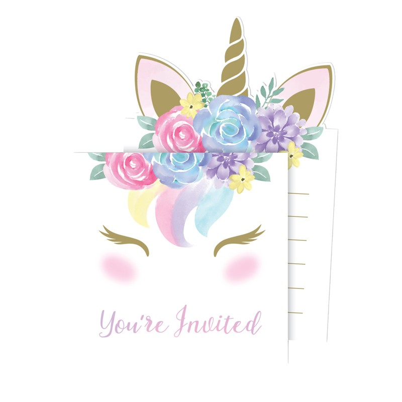 cartes d invitations licorne magique lot de 8 le geant de la fete