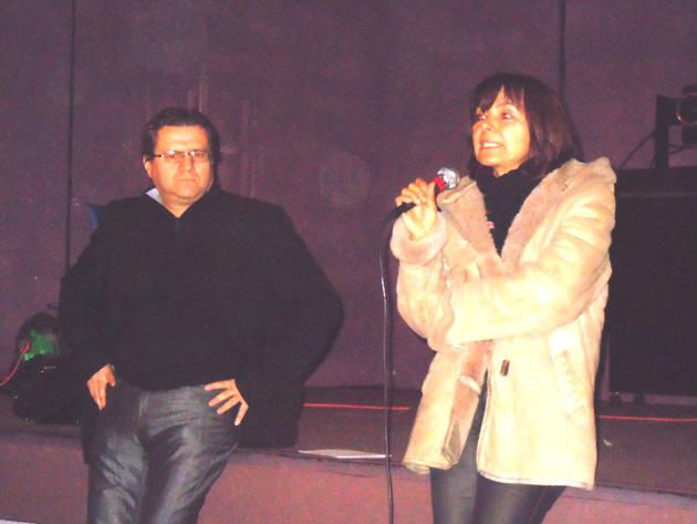 Les deux animateurs, de la conférence-débat du mardi 18 février à Céret sur les rythmes scolaires, Chantal Dubon et Francis Daspe