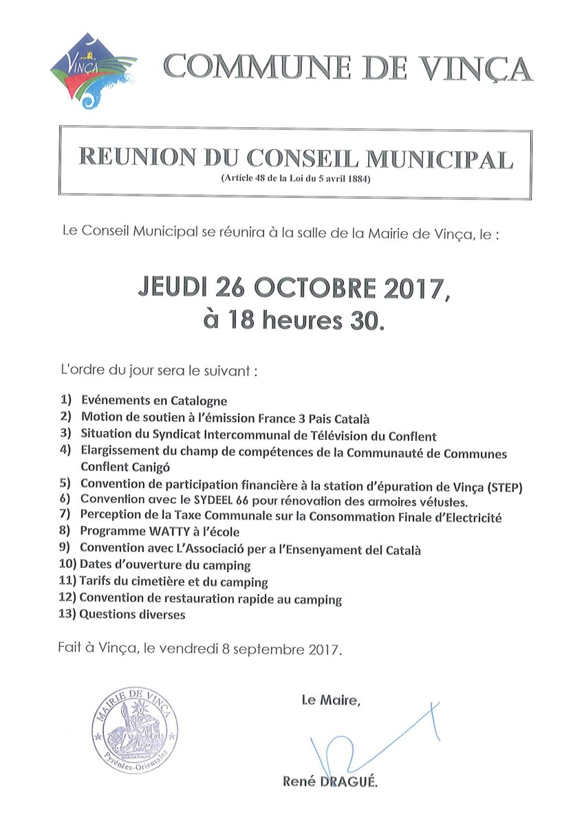 Communication de la mairie de Vinça