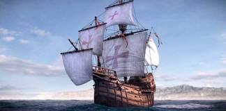 La Nao Santa Maria, réplique du bateau de Christophe Colomb, à Port-Vendres du 31 juillet au 13 août
